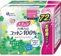 """Daio Paper Japan """"Elle Air"""" Ежедневные тонкие гигиенические прокладки анатомической формы, с поверхностью из хлопка, мини+, 17 см, 72 шт."""