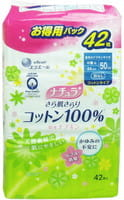"""Daio Paper Japan """"Elle Air"""" Супер-впитывающие ежедневные тонкие гигиенические прокладки для обильных выделений, с поверхностью из хлопка, супер, 24 см, 42 шт."""