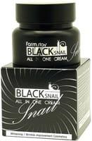 """FarmStay """"Black Snail All in One Cream"""" Восстанавливающий крем для лица, с муцином чёрной улитки, 100 мл."""