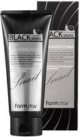 "FarmStay ""Black Snail Deep Cleansing Foam"" Очищающая пенка с муцином чёрной улитки, 180 мл."