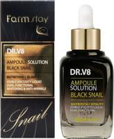 "FarmStay ""DR-V8 Ampoule SoluTion Black Snail"" Ампульная сыворотка с муцином чёрной улитки, 30 мл."