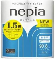 NEPIA «Long Roll» Однослойная туалетная бумага, 90 м, 8 рулонов.