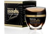 FarmStay «Gold Snail Premium Cream» Премиальный крем с золотом и муцином улитки, 50 мл.