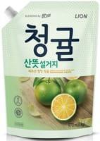 CJ LION «Chamgreen» Средство для мытья посуды «Зелёный цитрус», мягкая упаковка, 970 мл.