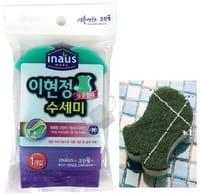"""Clean Wrap Трёхслойная губка для мытья посуды """"Рыбка"""", с нейлоновым и мягким вспененным покрытием, 11,5х9х2,5 см."""