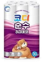 """Ssangyong """"Codi Pure Deco"""" туалетная бумага трехслойная, с тиснёным рисунком, 27 м * 30 рулонов."""