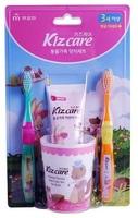 """MUKUNGHWA """"Kizcare"""" Детский зубной набор для гигиены полости рта - стакан, 2 щеточки, гель-паста 75 гр., со вкусом клубнички, с 3 лет."""