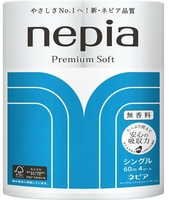 "Nepia ""Premium Soft"" Однослойная туалетная бумага, 4 рулона по 60 м."