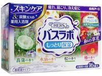 """HAKUGEN """"HERS Bath Labo"""" Увлажняющая соль для ванны с восстанавливающим эффектом на основе углекислого газа, с гиалуроновой кислотой, с ароматами: камелии, ириса, нарцисса, сосны, 45 гр.*16 табл."""