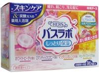"""Hakugen """"HERS Bath Labo"""" Увлажняющая соль для ванны с восстанавливающим эффектом на основе углекислого газа с гиалуроновой кислотой (с ароматами персика, мандарина, пиона, фрезии), 45 гр.*16 табл."""