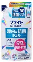 """LION """"Bright STRONG - Супер Яркость""""Гель-отбеливатель кислородный для стойких загрязнений, с антибактериальным эффектом, сменная упаковка, 480 мл."""