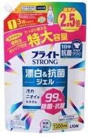 """LION """"Bright STRONG - Супер Яркость""""Гель-отбеливатель кислородный для стойких загрязнений, с антибактериальным эффектом, сменная упаковка, 1200 мл."""