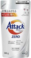 """KAO """"Attack Zero"""" Концентрированное жидкое средство для стиральных машин всех типов, против стойких пятен и запахов (полностью вымывается из волокон ткани), запасной блок, 360 гр."""