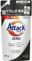"""KAO """"Attack Zero"""" Концентрированное жидкое средство для стиральных машин барабанного типа, против стойких пятен и запахов (полностью вымывается из волокон ткани), запасной блок, 340 гр."""