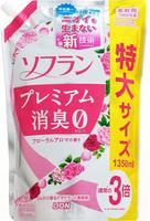 """Lion """"Soflan Premium Deodorizer Zero"""" Кондиционер для белья защищающий от неприятного запаха, аромат розовой розы, пиона и туберозы с нотами малины и персика, сменная упаковка, 1350 мл."""