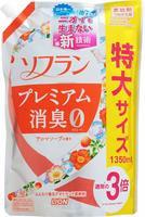 """LION """"Soflan Premium Deodorizer Zero"""" Кондиционер для белья защищающий от неприятного запаха, натуральный аромат цветочного мыла, сменная упаковка, 1350 мл."""