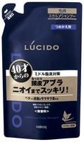 """Mandom """"Lucido Deodorant Shampoo"""" Мужской шампунь для глубокой очистки кожи головы и удаления неприятного запаха с антибактериальным эффектом и флавоноидами - для мужчин после 40 лет, сменная упаковка, 380 мл."""