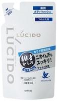 """MANDOM Мужское жидкое мыло """"Lucido Deodorant Body Wash"""" для нейтрализации неприятного запаха с антибактериальным эффектом и флавоноидами - для мужчин после 40 лет, сменная упаковка, 380 мл."""