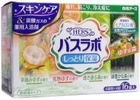 """HAKUGEN """"Hakugen Earth - Hers Bath Labo"""" Увлажняющая соль для ванны с восстанавливающим эффектом на основе углекислого газа с гиалуроновой кислотой (с ароматами юдзу и леса), 45 гр.*16 таблеток."""