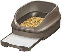 KAO Открытый биотуалет для кошек, коричневый, набор: лоток открытый, лопатка, наполнитель 2,5 л, подстилки, 4 шт.