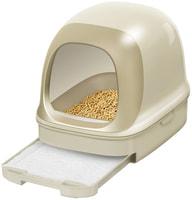 KAO Закрытый биотуалет для кошек, бежевый, набор: лоток-домик, лопатка, наполнитель 2,5 л, подстилки, 4 шт.
