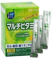 "Itoh Kanpo Pharmaceutical ""Sapril multivitamin"" Саприл Мультивитамин, со вкусом грейпфрута, 30 саше-пакетов на 30 дней."
