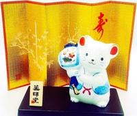 "YAKUSHIGAMA Японский подарочный сувенир - Мышь ""Молот удачи"". Размеры: 8,5х7,5 см."