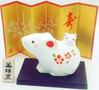YAKUSHIGAMA Японский подарочный сувенир - Мама Мышка с Мышонком, с пожеланием удачи. Размеры: 5,5х7,5 см.