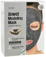 """Konad """"Jewel Modeling Mask Aurora Black Pearl"""" Моделирующая маска для лица с черным жемчугом, 5 шт/уп: гель – 50 гр.; пудра – 5 гр. + лопатка."""
