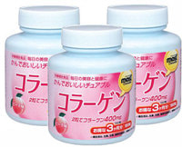 ORIHIRO Коллаген со вкусом персика, 180 жевательных таблеток - 3 баночки!