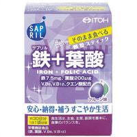 Itoh Kanpo Pharmaceutical Саприл Железо + Фолиевая Кислота, со вкусом чернослива, 30 саше-пакетов на 30 дней.