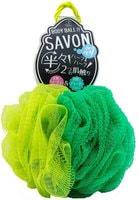 "YOKOZUNA ""Savon Body Ball"" Мочалка для тела в форме шара, 2х сторонняя: мягкая/жёсткая. Зелёная."