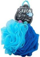 "YOKOZUNA ""Savon Body Ball"" Мочалка для тела в форме шара, 2х сторонняя: мягкая/жёсткая. Голубая."