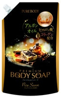 """Mitsuei """"Pure Body Premium"""" Увлажняющий гель для душа с гиалуроновой кислотой и коллагеном, аромат утренней свежести, мягкая упаковка, 840 мл."""