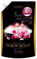"""Mitsuei """"Pure Body Premium"""" Увлажняющий гель для душа с гиалуроновой кислотой и коллагеном, аромат роз, мягкая упаковка, 840 мл."""