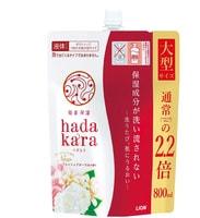 """Lion """"Hadakara"""" Увлажняющее жидкое мыло для тела с ароматом изысканного цветочного букета, сменная упаковка, 800 мл."""