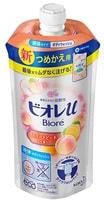 """KAO """"Biore U"""" Мягкое пенное мыло для всей семьи, аромат сладкого персика, сменная упаковка, 340 мл."""
