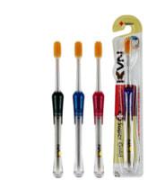 """EQ """"Navi"""" Зубная щетка со сверхтонкими щетинками двойной высоты и прозрачной прорезиненной ручкой, с ионами золота, средней жесткости, 1 шт."""