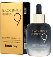 """FarmStay """"Black Snail & Peptide 9 Perfect Ampoule"""" Омолаживающая ампульная сыворотка с комплексом из 9 пептидов, 35 мл."""