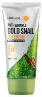 "Lebelage ""Anti-Wrinkle Gold Snail Sun Cream SPF50+ PA+++"" Солнцезащитный крем против морщин с муцином улитки и золотом SPF50+ PA+++, 70 мл."