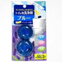 Okazaki Очищающая и дезодорирующая таблетка для бачка унитаза, окрашивающая воду в голубой цвет, с ароматом лаванды, 50 гр * 2.