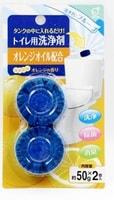 Okazaki Очищающая и дезодорирующая таблетка для бачка унитаза, окрашивающая воду в голубой цвет, с ароматом апельсина, 50 гр * 2.