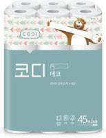 "Ssangyong ""Codi Pure Deco Soft&Strong"" Особомягкая туалетная бумага, двухслойная, с тиснёным рисунком, 45 м * 24 рулона."