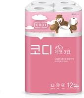 """Ssangyong """"Codi Pure Deco"""" Особомягкая туалетная бумага, трехслойная, с тиснёным рисунком, 27 м. * 12 рулонов."""