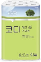 "Ssangyong ""Codi - Eco Smart"" Мягкая туалетная бумага, трехслойная, с тиснёным рисунком, 22 м. * 30 рулонов."