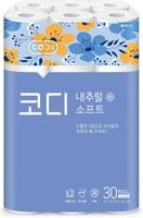 """Ssangyong """"Codi - Natural Soft"""" Особомягкая туалетная бумага, трехслойная, с цветным тиснёным рисунком, 27 м * 30 рулонов."""