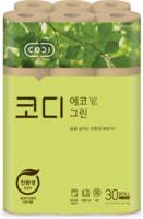 """Ssangyong """"Codi-Eco Green"""" Особомягкая неотбеленная туалетная бумага, трехслойная, с тиснёным рисунком, 30 м * 30 рулонов."""