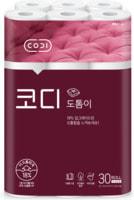 """Ssangyong """"Codi-Totumi"""" Особомягкая туалетная бумага повышенной плотности, трехслойная, с тиснёным рисунком, 30 м * 30 рулонов."""