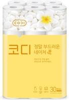 """Ssangyong """"Codi-Amazingly Soft Nature"""" Особомягкая туалетная бумага с увлажняющим лосьоном, трехслойная, с тиснением цветным рисунком, 30 м * 30 рулонов."""