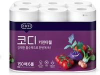 """Ssangyong """"Codi Kitchen Towel"""" Компактные кухонные салфетки, двухслойные, плотные, тиснёные, 150 листов * 6 рулонов."""